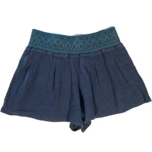 Free People Small Crinkle Navy Blue Baggy Shorts